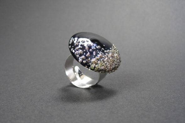 Ring   №200 schwarzer Glitzer